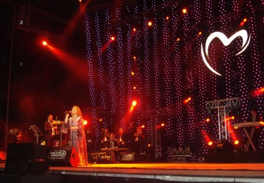Syrian singer Mayada El-Hanaoui performing at the Mawazine festival in 2011. Photo from Flickr by Magharebia (CC BY 2.0)