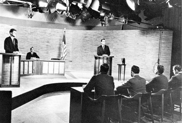 Senator John F. Kennedy and Vice President Richard M. Nixon during the first televised U.S. presidential debate in 1960. Image from Wikimedia Commons.