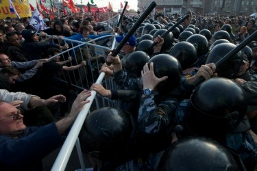 Clashes between police and demonstrators in Moscow, Russia. (6 May 2012) Photo by ALEXEY NIKOLAEV, copyright © Demotix.