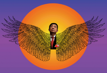 Bo Xilai portraited as Greek mythology character Icarus, who tried to fly too close to the sun with with a set of wings made from wax. Source: Beijing Cream.