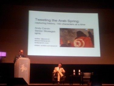 Andy Carvin's talk about tweeting the Arab Spring. Picture: Kasia Odrozek