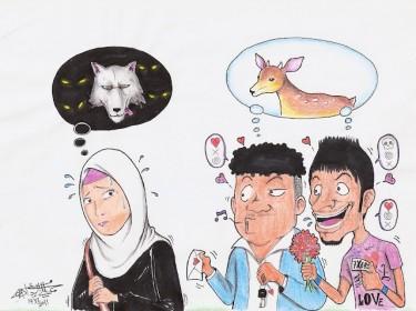 Cartoon van Mohammed Al Ridaei over vrouw die wordt lastiggevallen. Afbeelding van de Facebook-pagina Safe Streets.