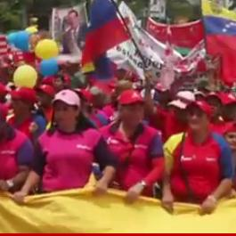 Screenshot of the Real News Video of people marching in Venezuela