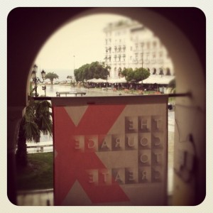 At TEDx Thessaloniki, looking out on a rainy day. Photo by Maria Mouzakiti on Instagram, used by permission