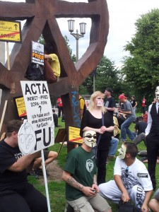 Some 500 people protested against ACTA in Berlin. Photo by Kasia Odrozek