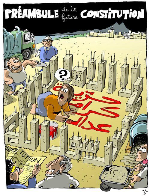 Libertà, Dignità, Giustizia circondate da un piedistallo del giuramento islamico