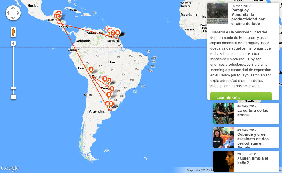 Interactive map routing trip through Latin America