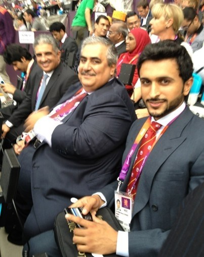 Anonymous: The guy front right with the red tie. VIP at the #Olympics. He's a torturer. Of athletes. Prince Nasser of #Bahrain.