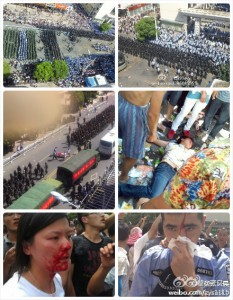 A Twitter user bridged photos from Weibo to show the difference between the scale of violence used by the State and by the Qidong protesters.