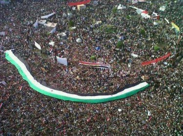 Syrian flag independence decorated Tahrir Square in Cairo.
