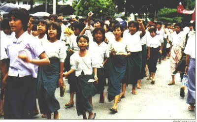 Young primary/secondary students voicing out during the protest. Image by Myanmar Political Review on Facebook.