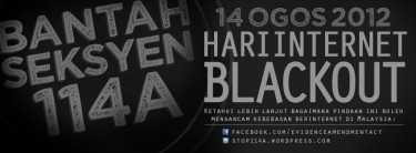 One of the #stop114a blackout banners in Bahasa Melayu