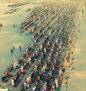 Worshippers praying the Eid prayers in Gaza