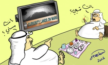 "Cartoon by Kuwait-based cartoonist Hashimoto about Arab divisions: Two Arabs arguing: One says, ""You're Shia"" and the other says, ""You're Sunni"" and the TV screen reads, ""Curiosity lands on Mars""."