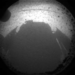 The Curiosity Rover casts a shadow in Mars' Gale crater while landing. Picture uploaded by NASA's Curiosity Mars Rover facebook page.