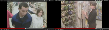 Screenshots from Voina's 2008 department store action, featuing Tolokonnikova (right) and Samutsevich (left). 14 September 2008. YouTube.