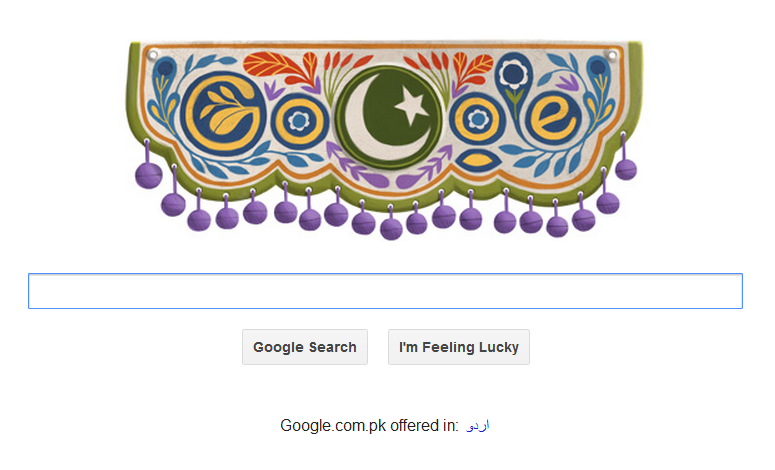 Google Pakistan's Independence Day doodle featuring Truck Art