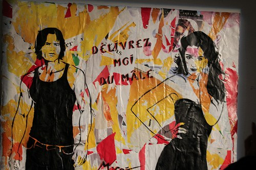 """<em>Délivrez-moi du mâle</em>"" (Deliver me from man), wall stencil by French artist MissTic, photo by xtof on Flickr, used under Creative Common license"