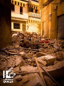 الحي الأثري في باب الدير بمدينة حمص بعد دماره