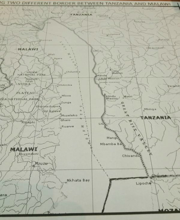 A map showing two different borders between Tanzania and Malawi. Image courtesy of wavuti.com.