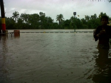 Flood in Bocaue, Bulacan located north of Manila. Photo from Facebook page of Almond Andres.