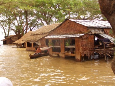 Flood in Myanmar's delta region. Photo by Nay Myo Zin, via Facebook.