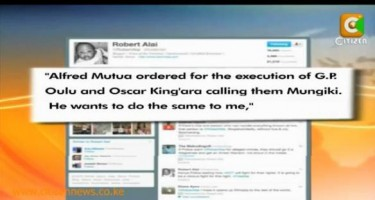 Robert Alai's tweet accusing government spokesperson of murder that got him into legal trouble.