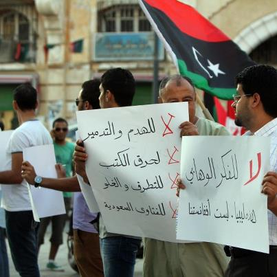 Benghazi protestors angry at the desecration of tombs