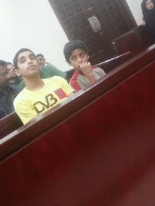 Mirza AbdulShaheed (12) & Mohsin AlArab (13) in court. Manama, Bahrain. Image by Twitpic user and their lawyer @Duaa_al3mm
