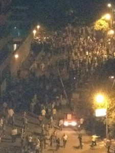 Protesters outside the US Embassy in Cairo last night