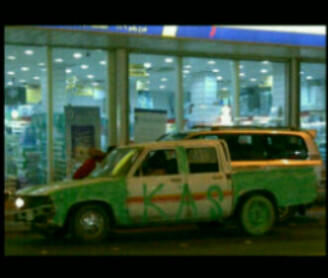 A pick up truck painted green to celebrate Saudi National Day