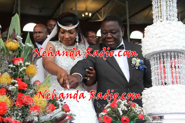 Morgan Tsvangirai with Elizabeth Macheka cutting the wedding cake at at the Glamis Arena. Photo used with permission from nehandaradio.com