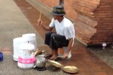 Click through for a great street drummer's performance video!