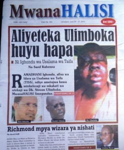 The edition that led to the closure of the paper. Photo courtesy of Mabadiliko Forums.