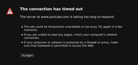 Screenshot of an error message that many Kyrgyzstanis trying to access the infamous video on YouTube get.