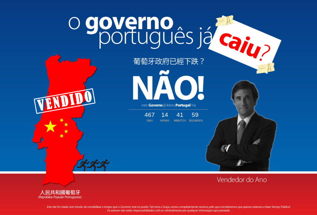 Screenshot of the countdown website O Governo Português Já Caiu? (Has Portuguese Government Fallen Already?).