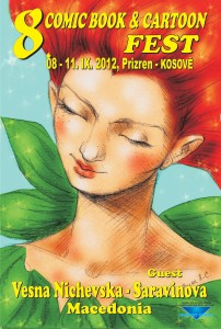 Poster announcing Vesna Nichevska-Saravinova's participation at 8th Comic Book & Cartoon Fest in Prizren