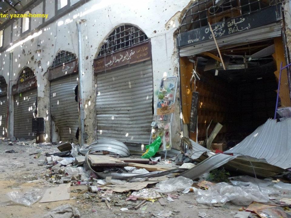 Antico mercato di Homs, dopo i bombardamenti e conseguenti incendi, 6 marzo 2012