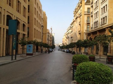 An empty street in Beirut