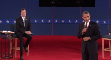Mitt Romney and Barack Obama during the second debate. Screenshot from video.