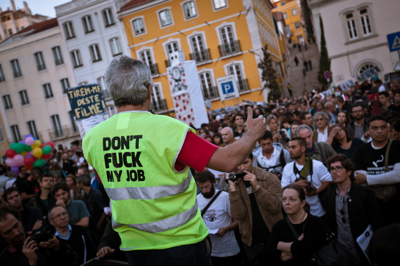 """Don't fuck my job"". Photo by Xavier Malafosse copyright Demotix (15/10/2012)"