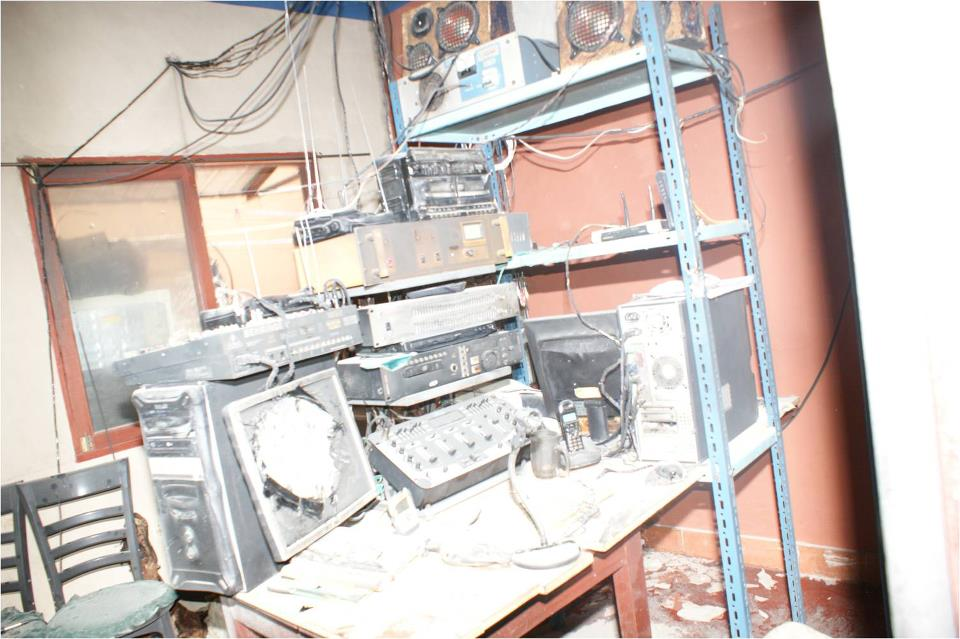 Image of radio station after attack. Shared by Esteban Farfán Romero on Facebook