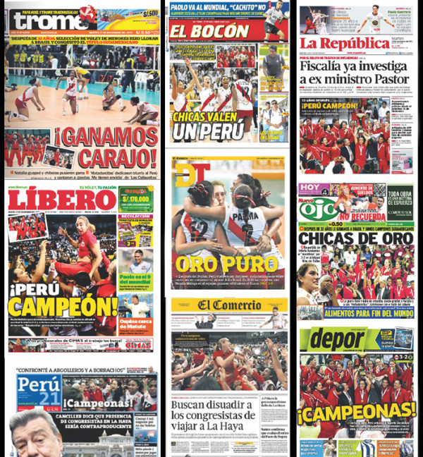 Peruvian newspapers react to volleyball team's victory