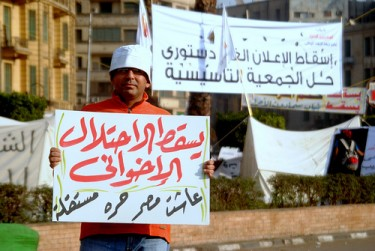 A protestor carrying a poster which reads: Down with the Muslim Brotherhood invasion. Long lives a free and independent Egypt
