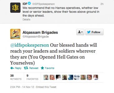 Israel and Alqassam Bridages exchange threats on Twitter