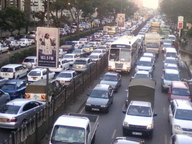 Traffic Snarl-up in a Nairobi Street caused by Public Service strike - Image courtesy of @PossumBlu & @ktnkenya