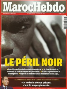 The cover of Moroccan Weekly lists the peril of black immigration in Morocco - Public Domain