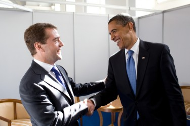 Obama incontra  Medevedev al Business forum del 6 luglio 2009, fotografia della Casa Bianca, dominio pubblico