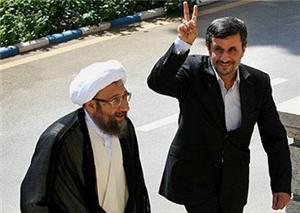 رئيس السلطة القضائية صادق لاريجاني والرئيس محمود أحمدي نجاد