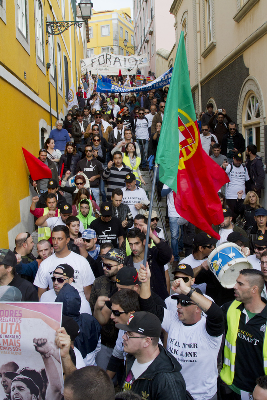 Demonstrators walking towards the Assembleia da Republica in Sao Bento, Lisbon. Photo by Francois Bota copyright Demotix (14/11/2012)